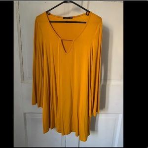 Long Sleeve Mustard Dress